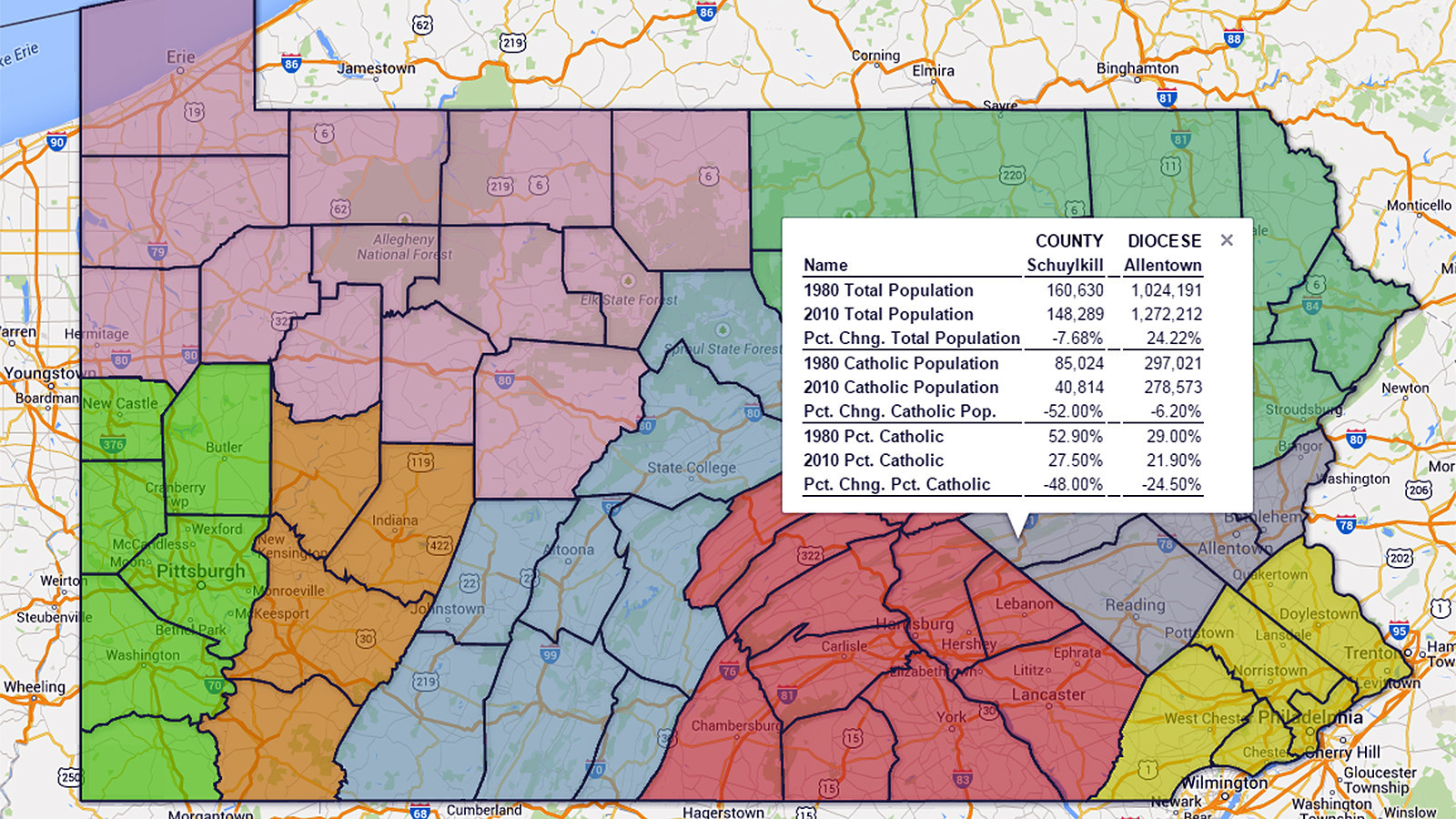 . catholic population changes in pennsylvania map  the morning call