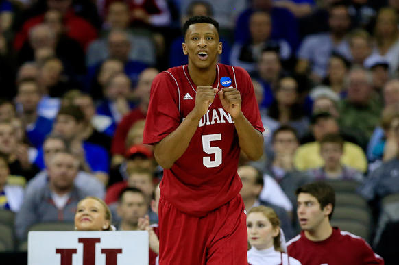 OMAHA, NE - MARCH 20: Troy Williams #5 of the Indiana Hoosiers reacts in the second half against the Wichita State Shockers during the second round of the 2015 NCAA Men's Basketball Tournament at the CenturyLink Center on March 20, 2015 in Omaha, Nebraska.  (Photo by Jamie Squire/Getty Images) ORG XMIT: 527066023