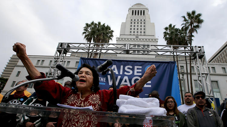 Dolores Huerta speaking at downtown L.A. rally