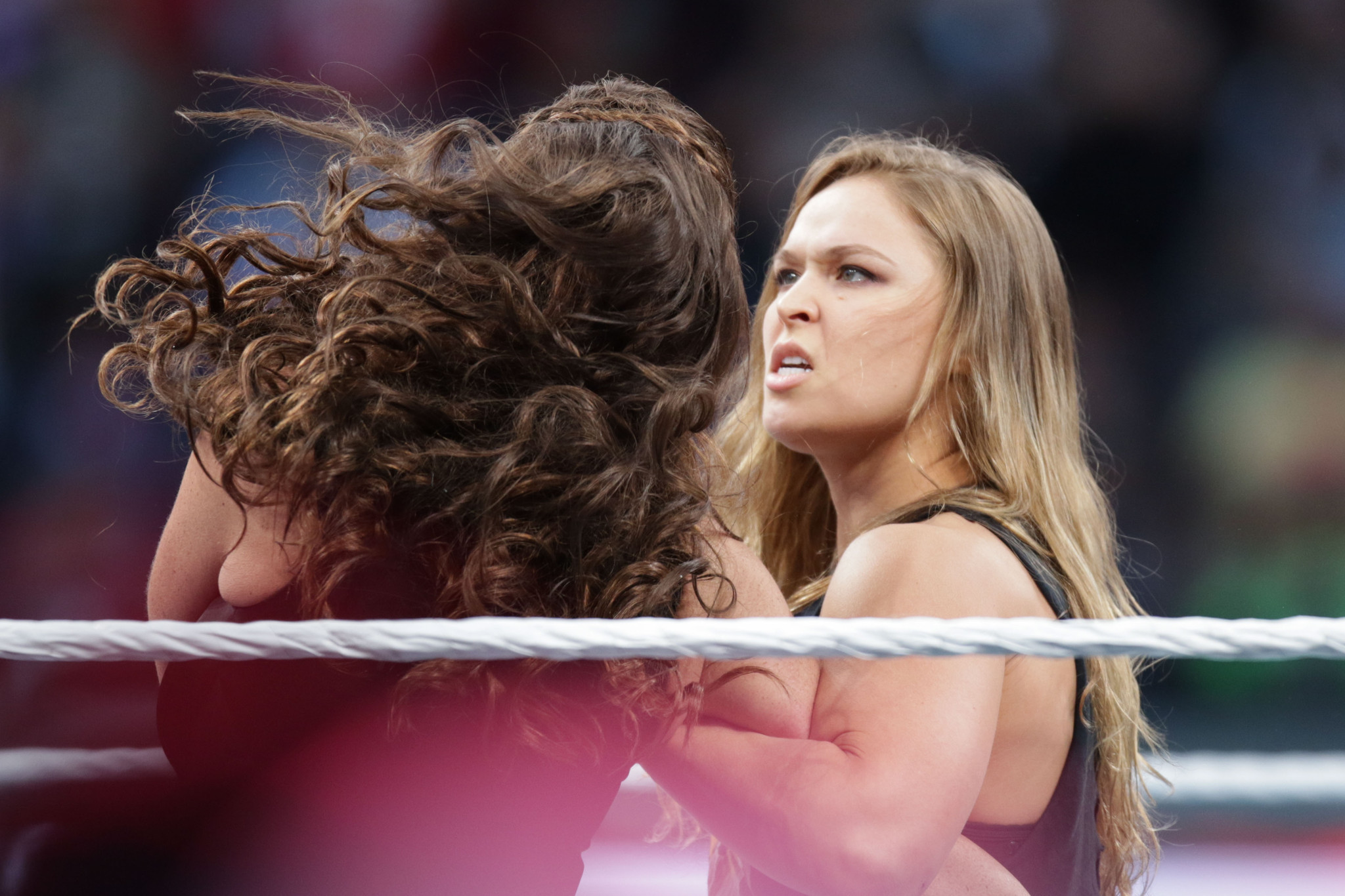 Ronda Rousey, the Rock confront Stephanie McMahon, HHH at WrestleMania