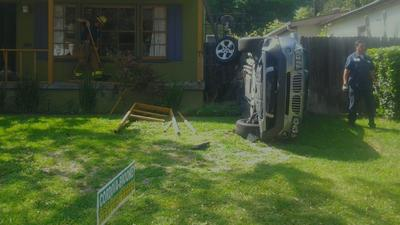 Driver crashes car into front porch of home