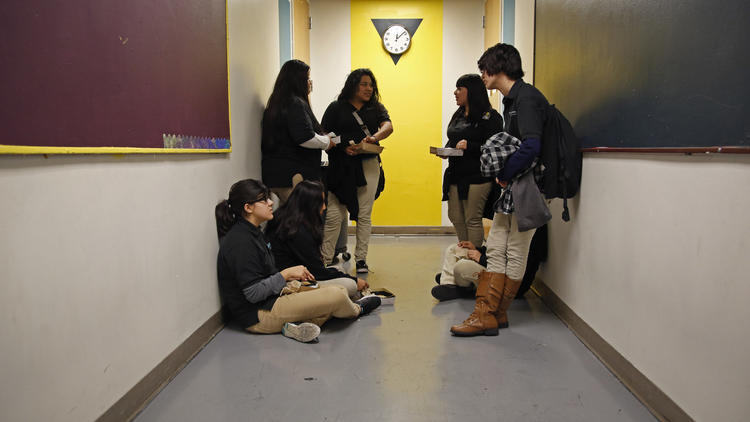 Students at a downtown Los Angeles charter school