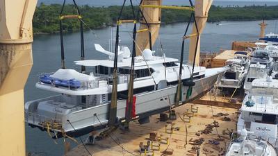 Yacht hoisted