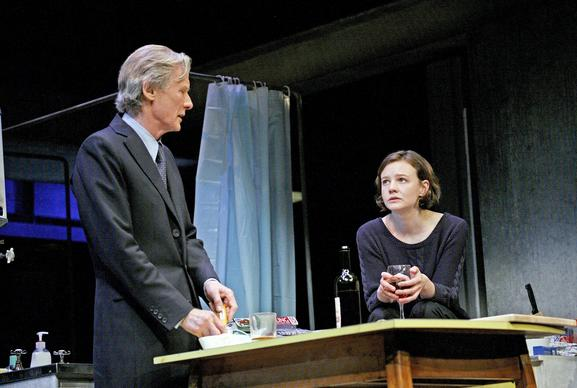 "Bill Nighy, left, and Carey Mulligan in a scene during a performance of ""Skylight,"" which opened April 2 at the Golden Theater in New York."
