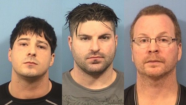 Former Schaumburg officers John Cichy, from left, Matthew Hudak and Terrance O'Brien were charged in 2013 with conspiracy to steal drugs and money from drug dealers while on duty.