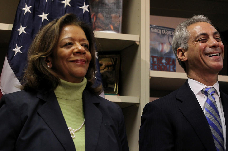 Mayor Rahm Emanuel introduces Barbara Byrd-Bennett as the new Chicago Public Schools CEO at South Loop Elementary School in October 2012.