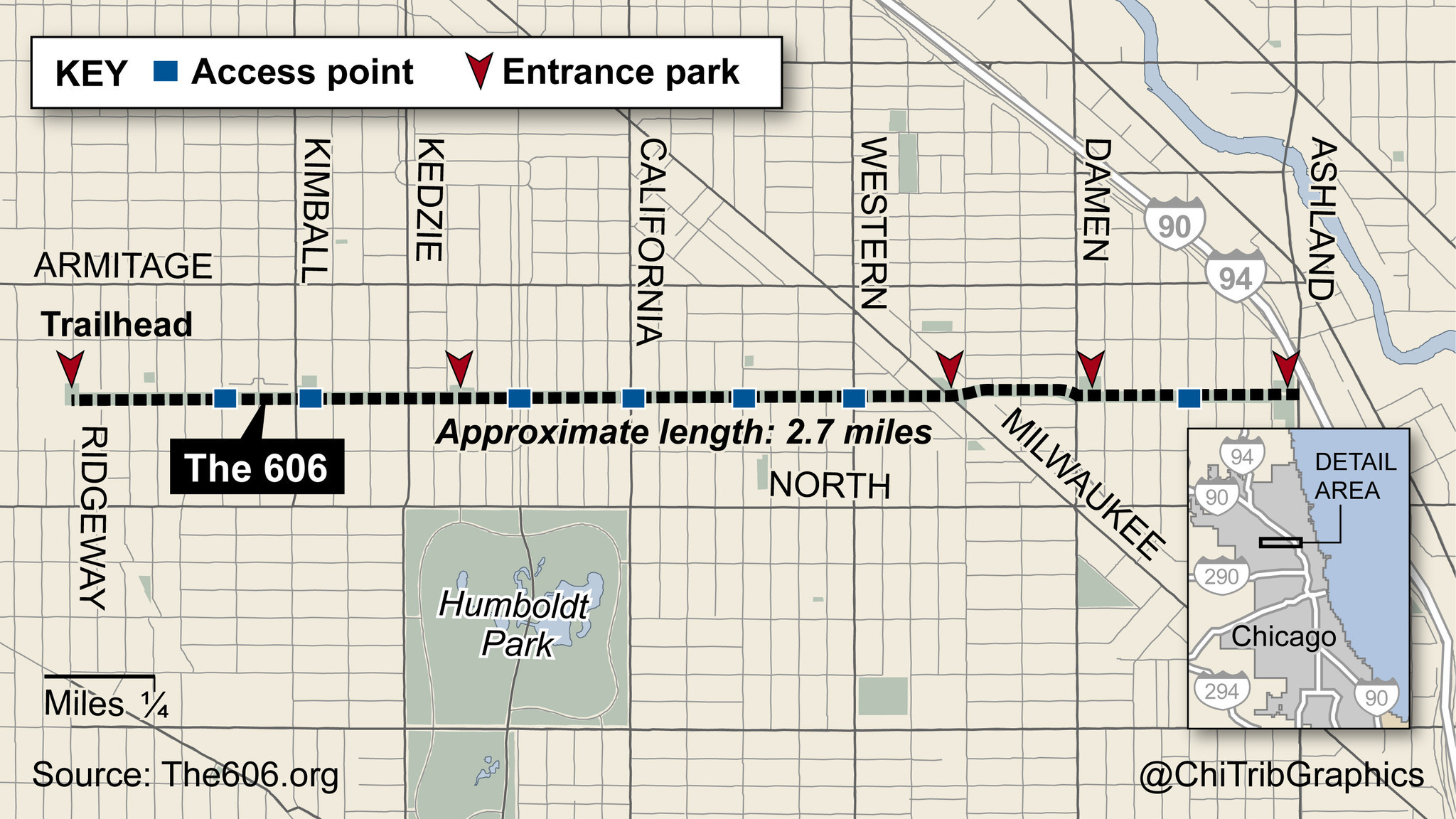 The 606 trail (map)   Chicago Tribune