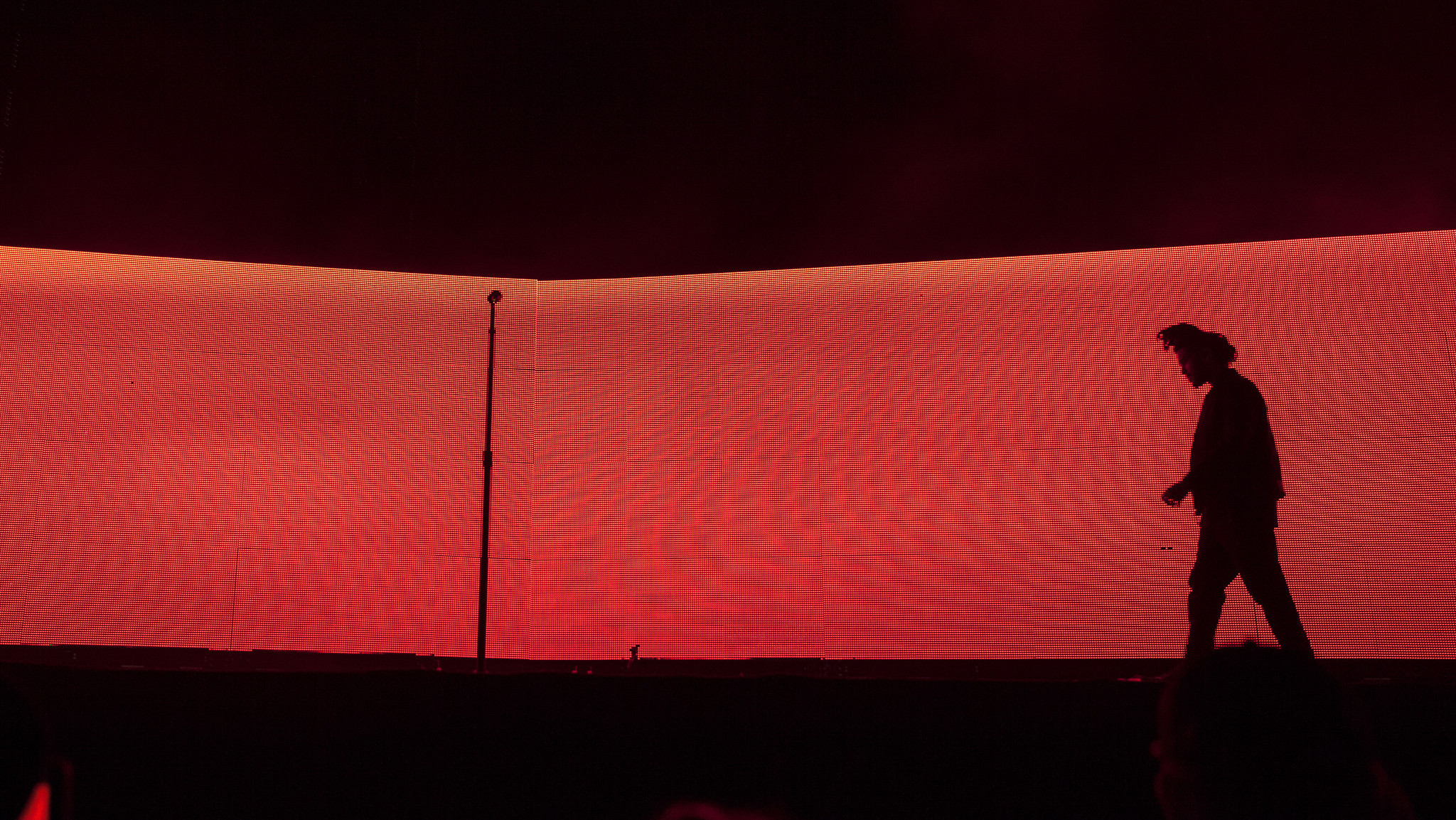 A wall of red light