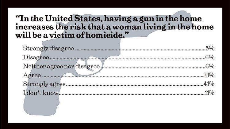 """In the United States, having a gun in the home increases the risk that a woman living in the home will be a victim of homicide."""