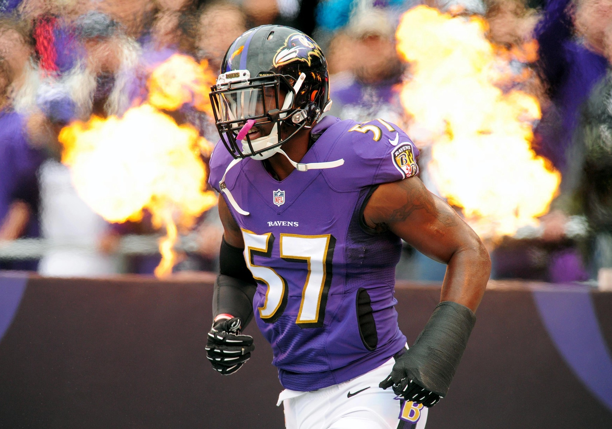 Baltimore Ravens second year linebacker C J Mosley has his