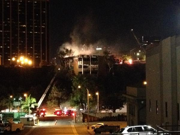 Vacant building ignites near downtown L.A.; no injuries reported