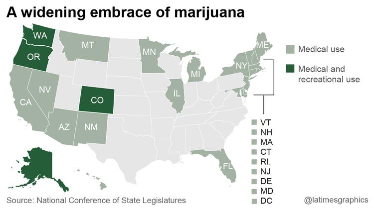 A widening embrace of marijuana