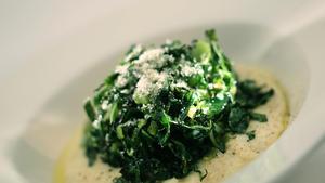 Sautéed cauliflower leaves with soft mascarpone polenta