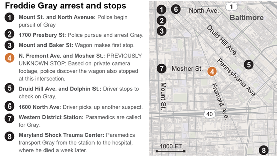 Map of stops made by police in Freddie Gray case