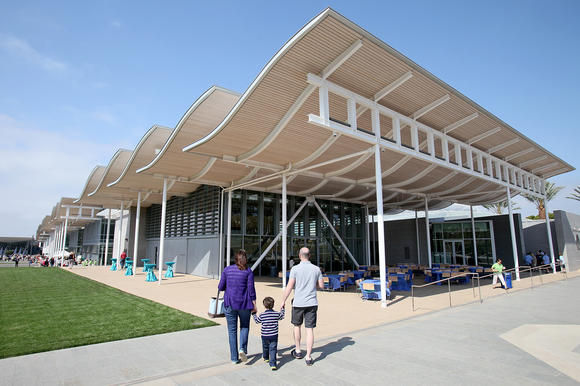 A family explores Newport Beach's new Civic Center and Park on its opening day in 2013.