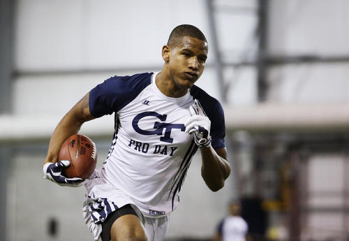 Darren Waller runs the ball during a football drill at NFL Pro Day at Georgia Tech March 13, 2015, in Atlanta. The Ravens selected Waller in the sixth round of the NFL draft.