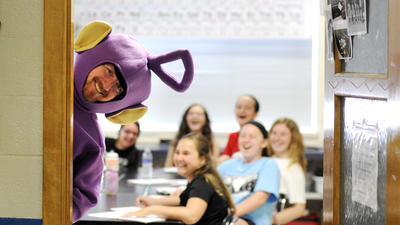West Middle teachers dress as Teletubbies, raise money for cancer patients