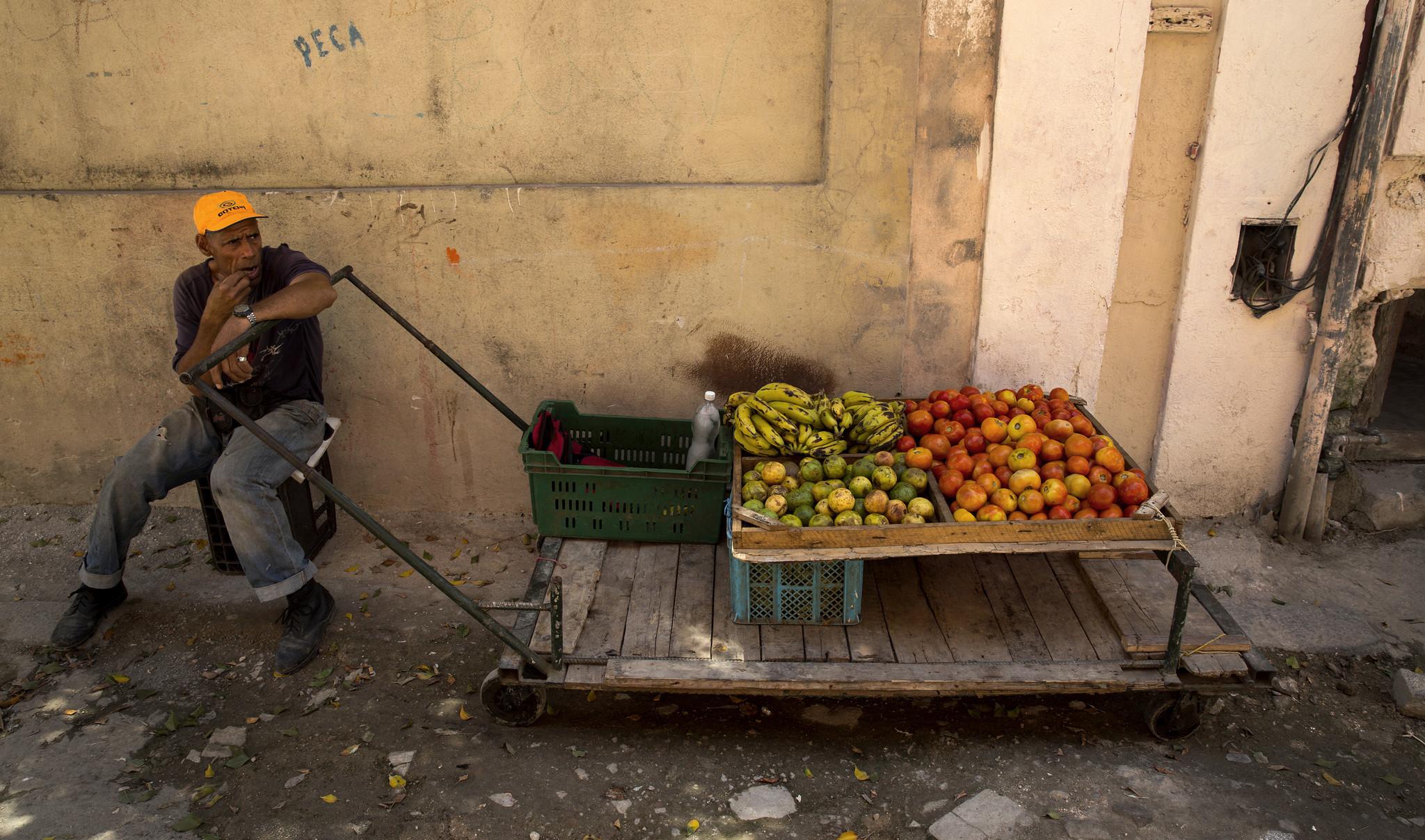 produce vendor and cart