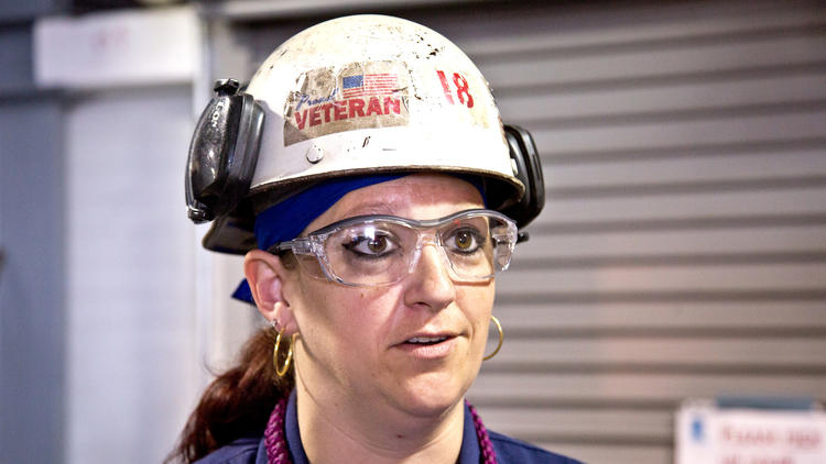 First female welder to handle sub keel-laying