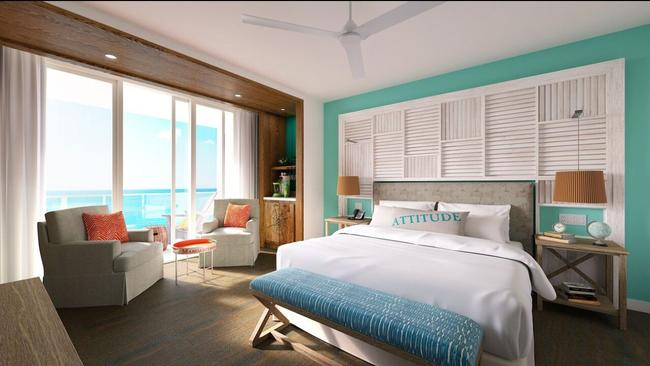 Guest room at Margaritaville Hollywood Beach Resort