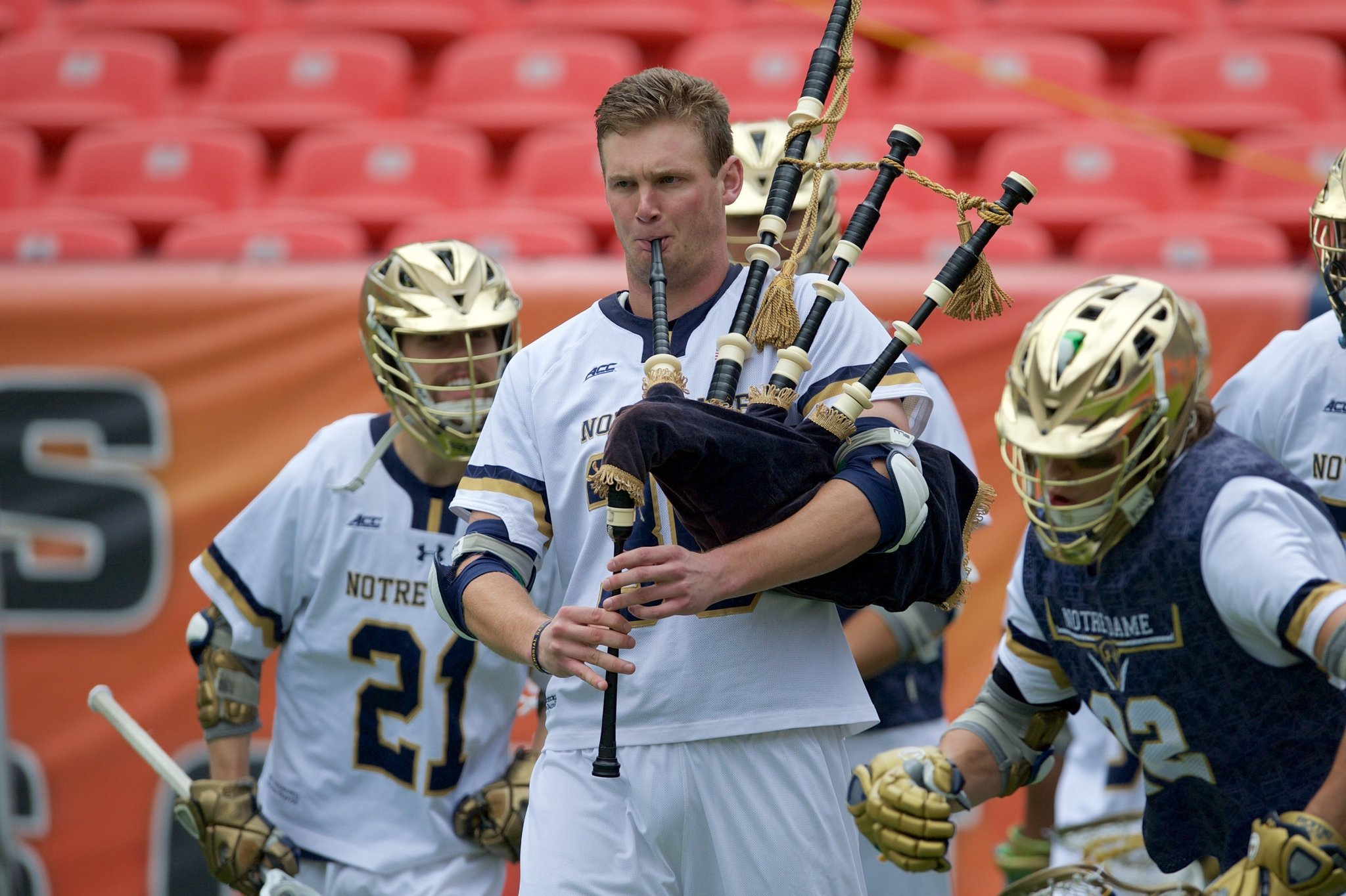 Notre Dame S Unlikely Tradition The Lacrosse Bagpiper