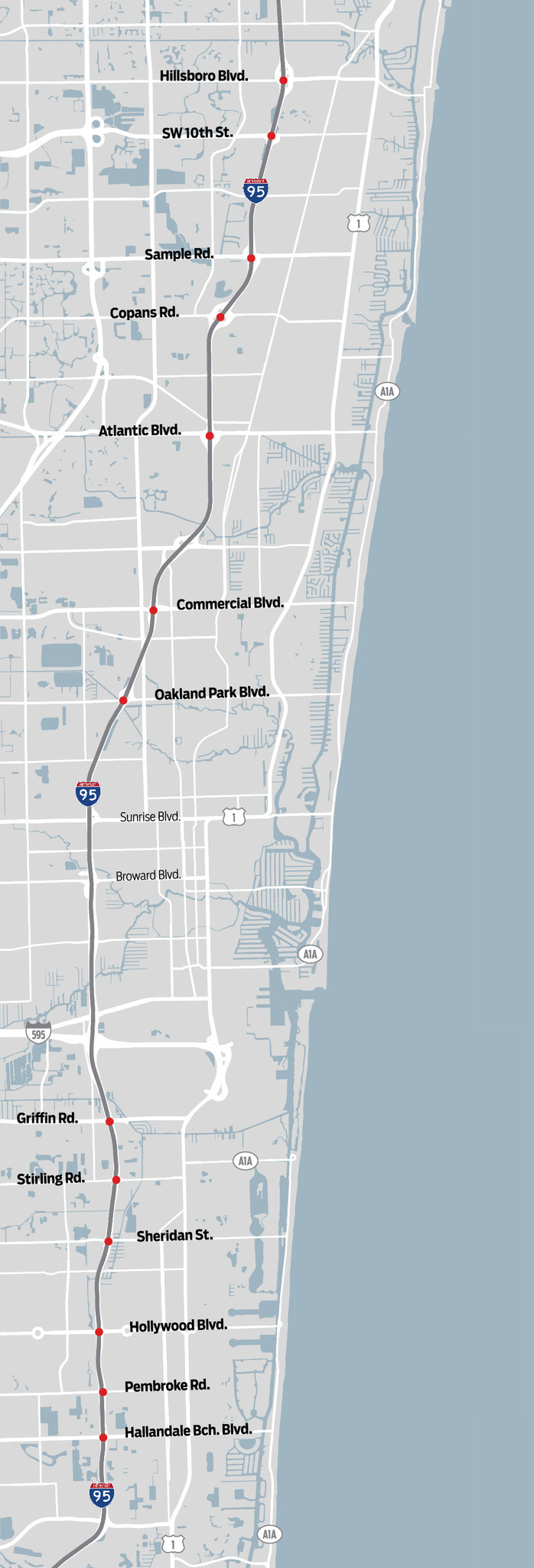 Updated Map Interstate  Exits To Be Revamped Sun Sentinel - Florida map hallandale