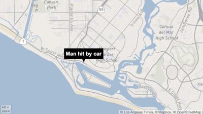 Man dies after being hit by car in Newport Beach