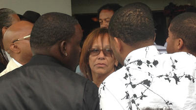 Jennifer Rivers at Tavin Price's funeral