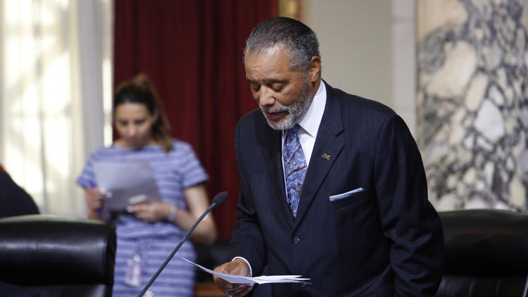 Los Angeles Councilman Bernard C. Parks speaks during a City Council meeting about SOLA as a hip sounding nickname for South Los Angeles.