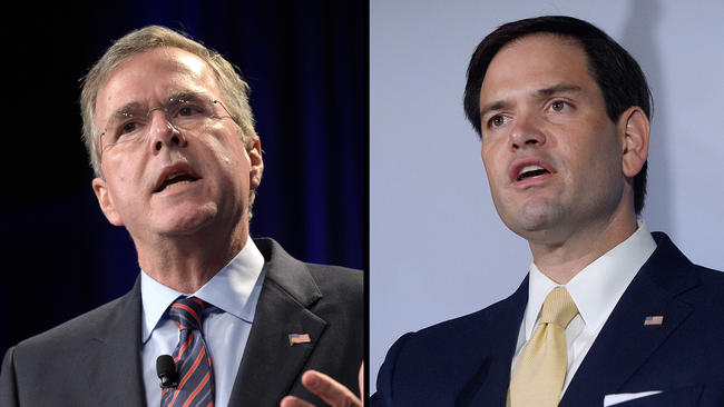 GOP presidential candidates Jeb Bush, left, and Marco Rubio battle for home state support in Florida. None