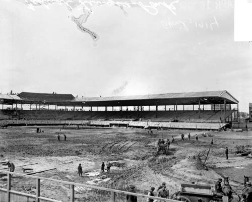 In 1914, construction was underway for the first baseball season at Weeghman Park for the Federal League Chicago Whales team.