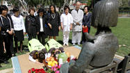 South Korean students pay respects in Glendale before cross-country trek spreading awareness of comfort women