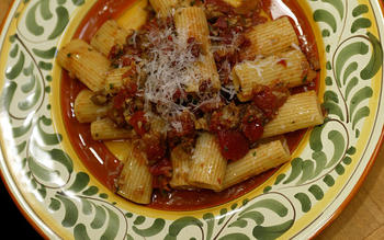 Rigatoni with mushrooms and pancetta
