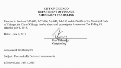 Read the Chicago amusement, personal property lease tax rulings