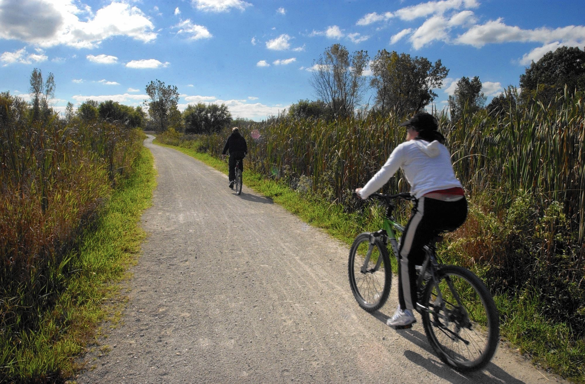 cyclists challenged hilly 9 5 mile trail at waterfall glen