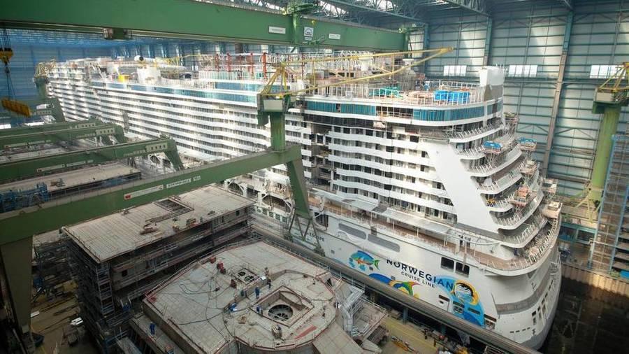 Norwegian Escape in shipyard