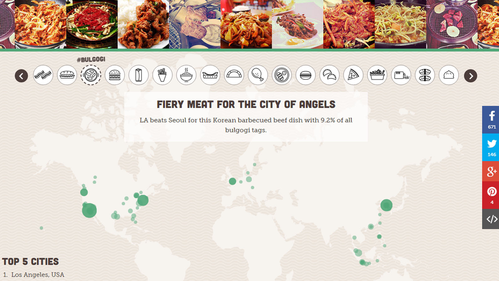 Interactive Instagram Food Map Which Cities Share The Most - Los angeles map by city
