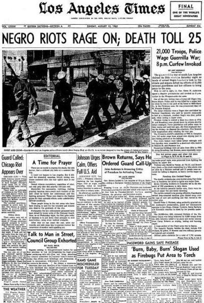Image result for beginning with watts the major race riots of 1965 and 1966