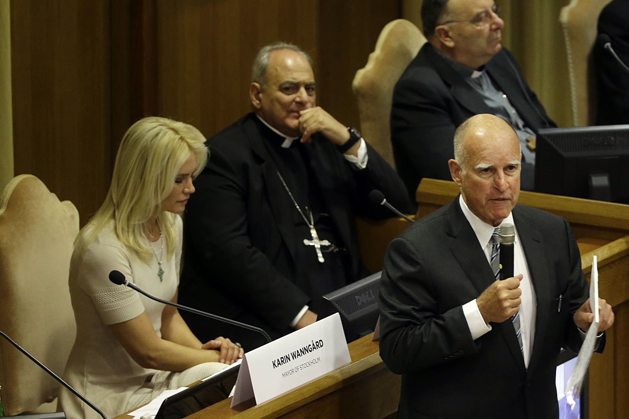 Gov. Jerry Brown speaks at a Vatican conference on climate change in July. (Gregorio Borgia / Associated Press)