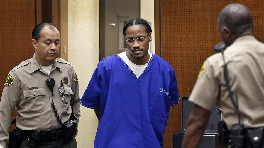 Leonard Hall, 26, is led into a courtroom at the Clara Shortridge Foltz Criminal Justice Center in downtown Los Angeles on Tuesday for sentencing in the 2010 killing of 5-year-old Aaron Shannon Jr. (Al Seib / Los Angeles Times)