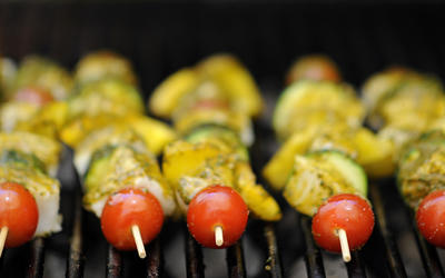 Grilled swordfish skewers with chermoula sauce