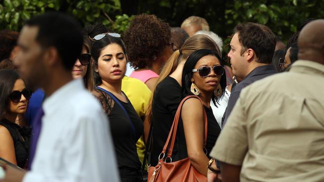 Crowd outside church