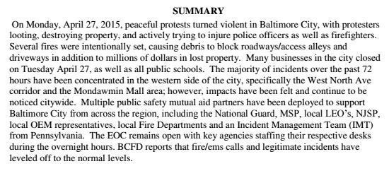 Situation Report Noting City Site Is Back Up Document  Baltimore Sun