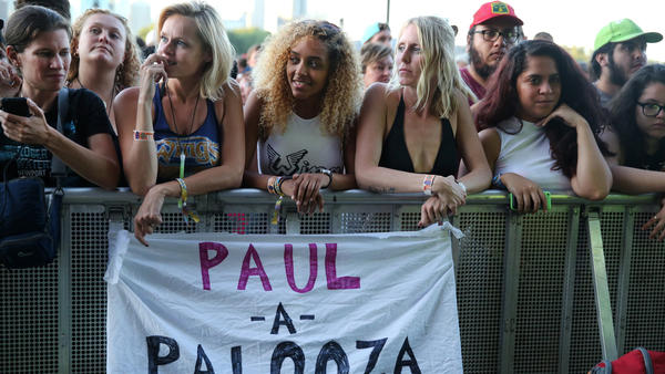 Fans wait for Paul McCartney