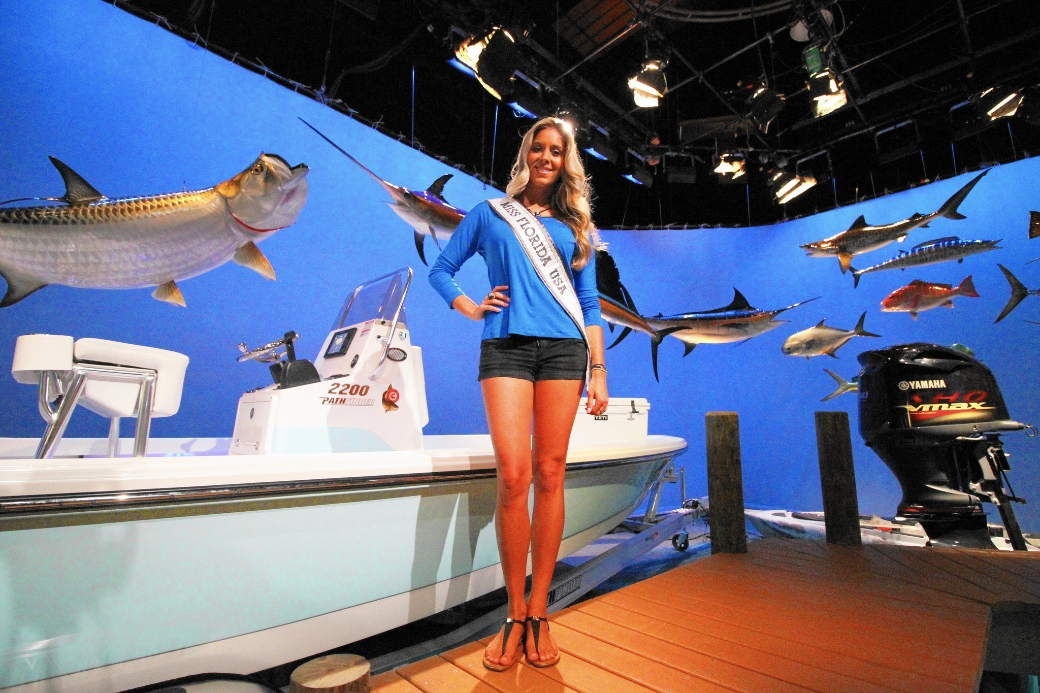 Miss florida usa brie gabrielle is host of a fishing show for Florida insider fishing report