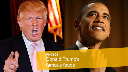 """<p>For weeks, President Obama kept quiet as the Donald helped fuel """"birther"""" conspiracy theories.<br /> <br /> """"He doesn't have a birth certificate,"""" Trump told """"Good Morning America"""" in spring 2011. """"He may have one, but there is something on that birth certificate -- maybe religion, maybe it says he's a Muslim, I don't know. Maybe he doesn't want that. Or, he may not have one."""" Trump also told a tea party rally that Obama """"almost certainly will go down as the worst president in the history of the United States.""""<br /> <br /> But Obama seemed to get the last laugh when, right after releasing his long-form birth certificate, he lampooned Trump at the White House correspondents' dinner. """"Now he can get to focusing on the issues that matter,"""" the president said. """"Like, did we fake the moon landing? What really happened at Roswell? And where are Biggie and Tupac?"""" Zing!<br /> But that didn't quiet Trump. The Donald fired back during Obama's 2012 presidential campaign with a """"big announcement"""" goading Obama to release his college transcripts the October before the election so that he would donate $5 million to charity. Turns out the offer was one the president could easily refuse.</p>"""