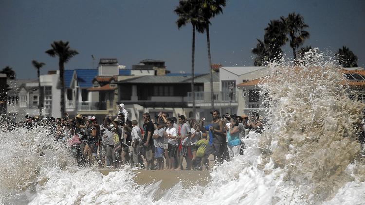High surf in Newport Beach