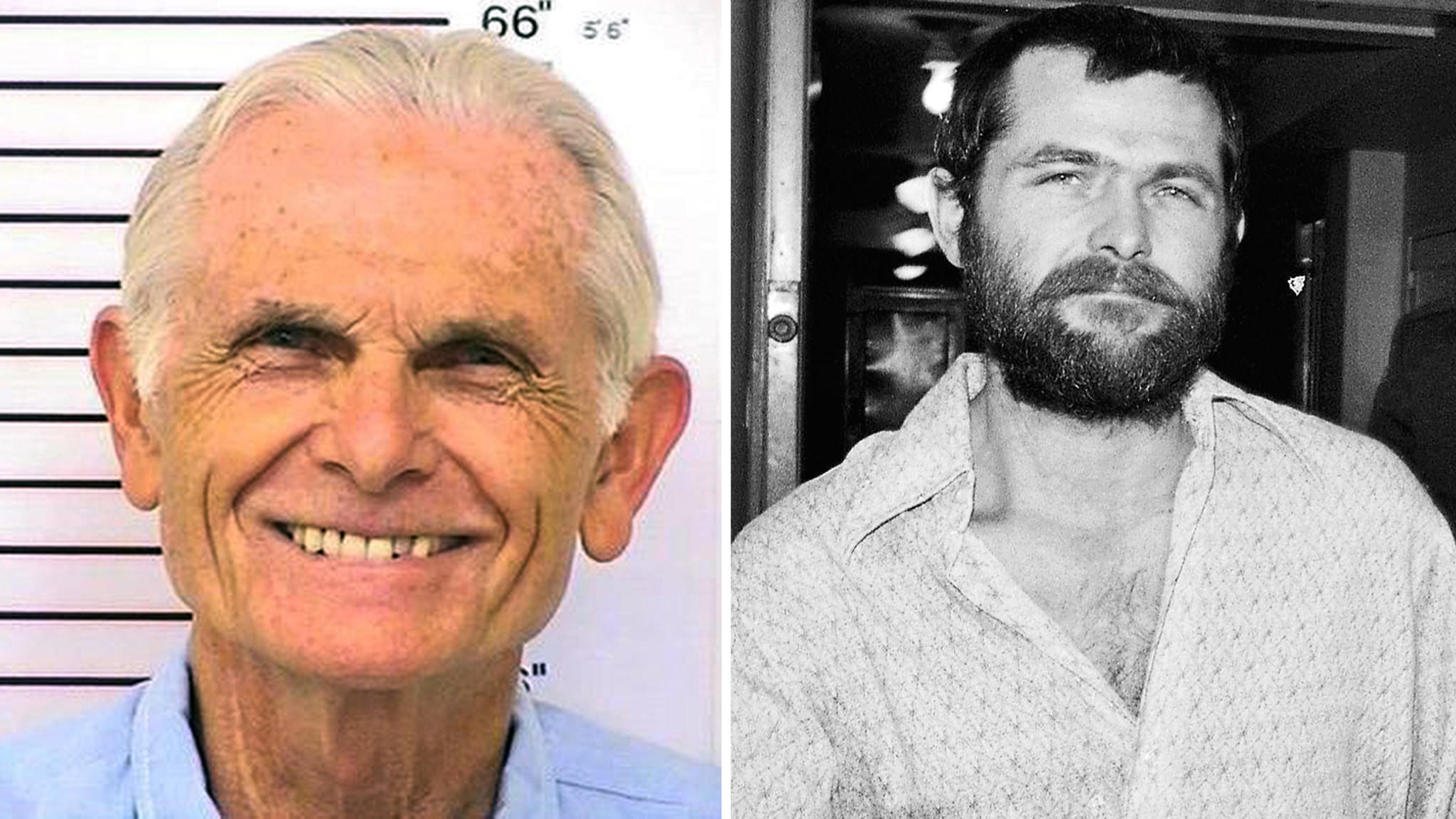 At left, Bruce Davis in 2014 in a California Department of Corrections image, and in 1970 in a photo made by Harold Filan.