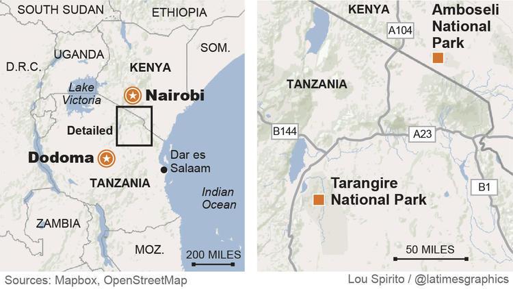 Dodoma, Nairobi, Tarangire National Park, Amboseli National Park