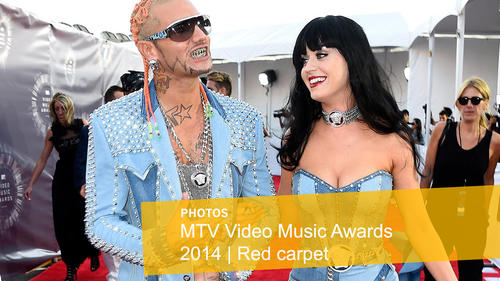 <p>Recording artists Riff Raff and Katy Perry</p>